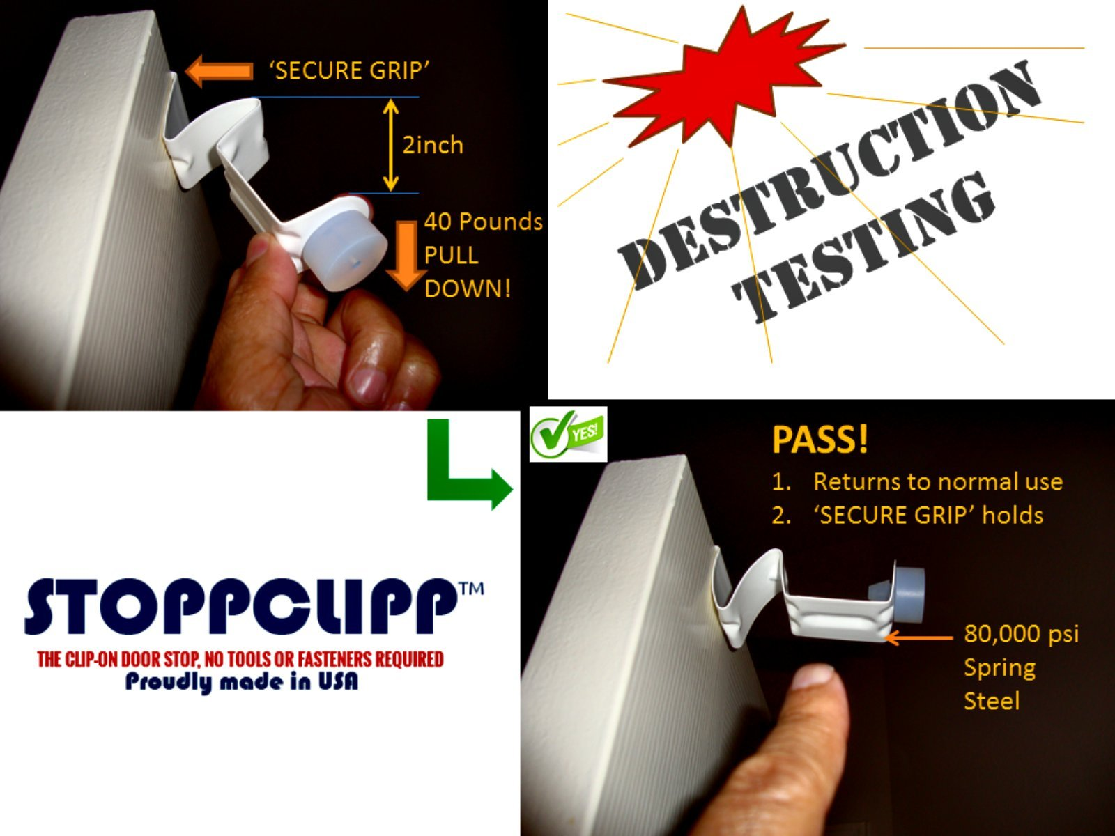 StoppClipp Premium EXTERIOR Door Stopper, Secure EZ Clip-On Door Stop, Tamper-proof Children's fingers or toes pinch guard, Prevents Pets lockout, 100% Made In USA (2 PK EXTERIOR DOOR STAINED) by StoppClipp (Image #5)