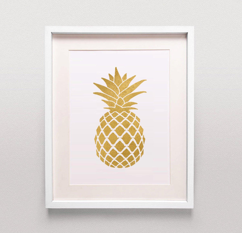 Gold Ananas Print/Gold Ananas Art/Gold Ananas Poster/Gold Küche ...