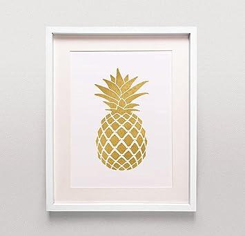 gold ananas print/gold ananas art/gold ananas poster/gold küche ... - Poster Für Küche