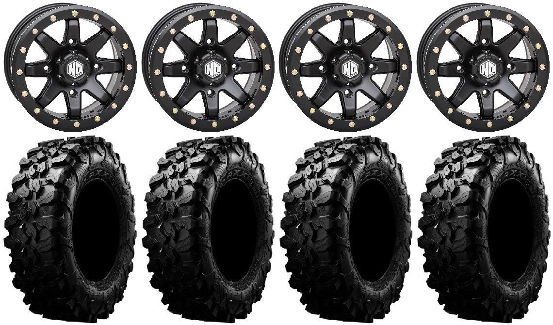 9 Items Bundle STI HD9 14 Beadlock Wheels MB 30 Carnivore Tires 4x156 Bolt Pattern 12mmx1.25 Lug kit