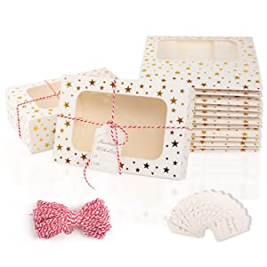 Take Out Food Containers - White Gold Foil Cardboard Cake Boxes - Leak & Grease Resistant – Recyclable Lunchboxes - Customized Tags, Display Window & Rope – Catering and Parties - Gift Packaging Boxes for Pastries, Cookies, Small Cakes, Pie, Cupcakes, and More - (24 Pcs Packing) 9.0