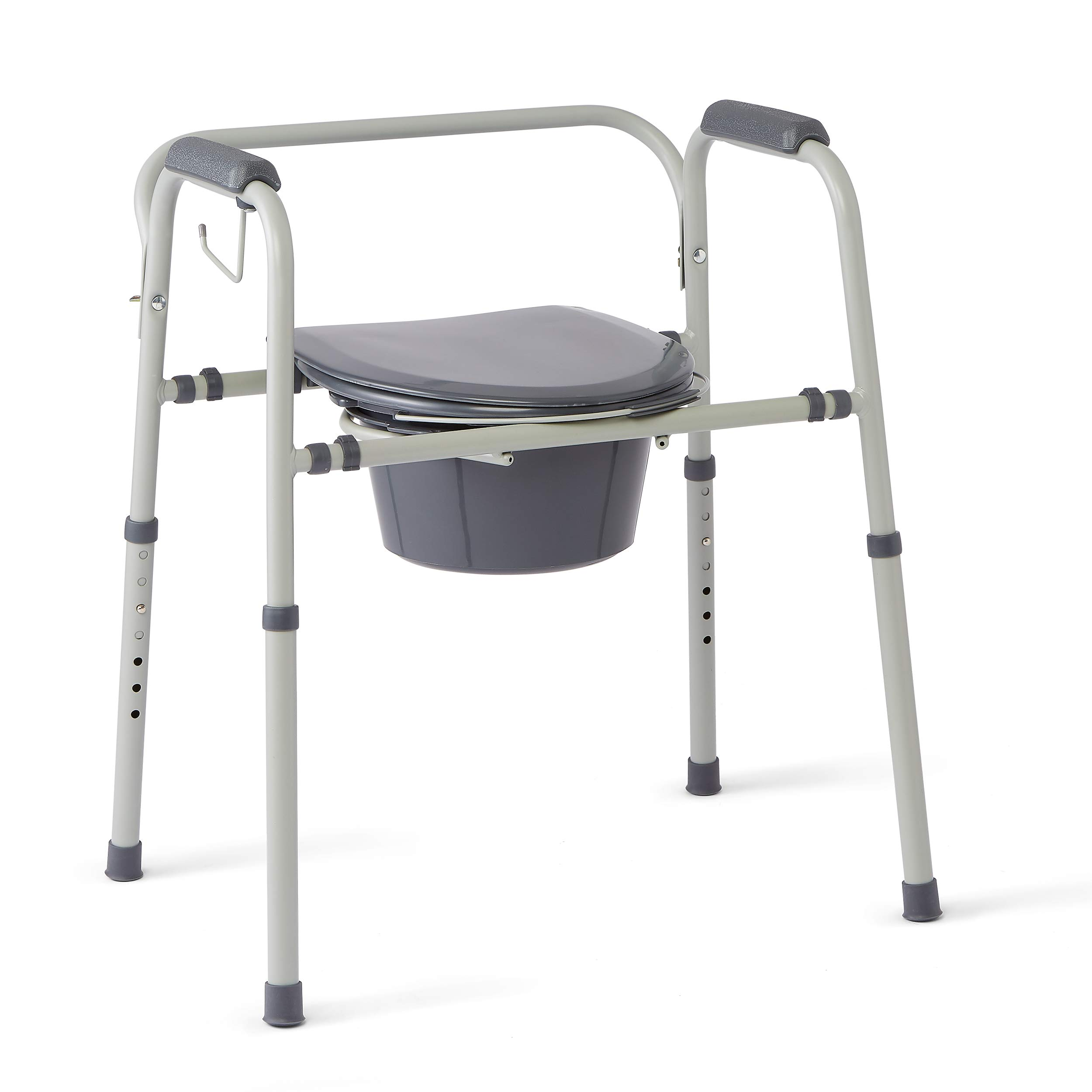 Medline Steel 3-in-1 Bedside Commode, Portable Toilet with Microban Antimicrobial Protection, Can be Used as Raised Toilet Seat Riser, Gray by Medline
