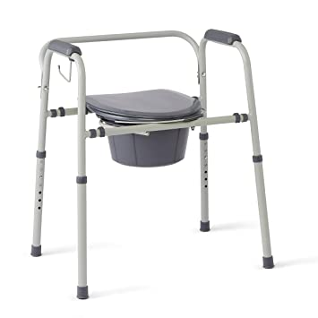 Medline Steel 3-in-1 Bedside Commode, Portable Toilet with Microban Antimicrobial Protection