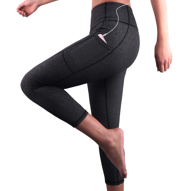 REIDAY Mallas Deportivas de Mujer, Mujer Pantalones elásticos de yoga con bolsillos laterales, 3
