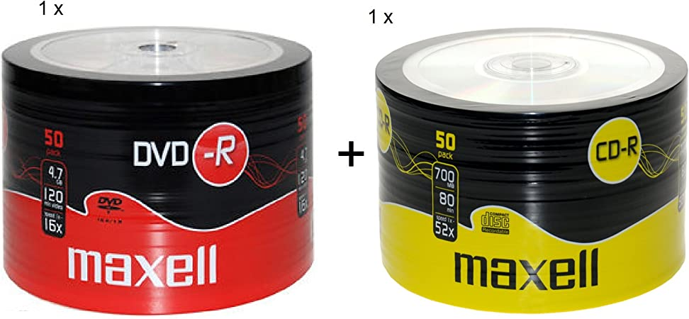 MAXELL 50Pk DVD-R And CD-R Blank Recordable Disc CDs CDR DVDR 1 Pack Of Each: Amazon.es: Hogar
