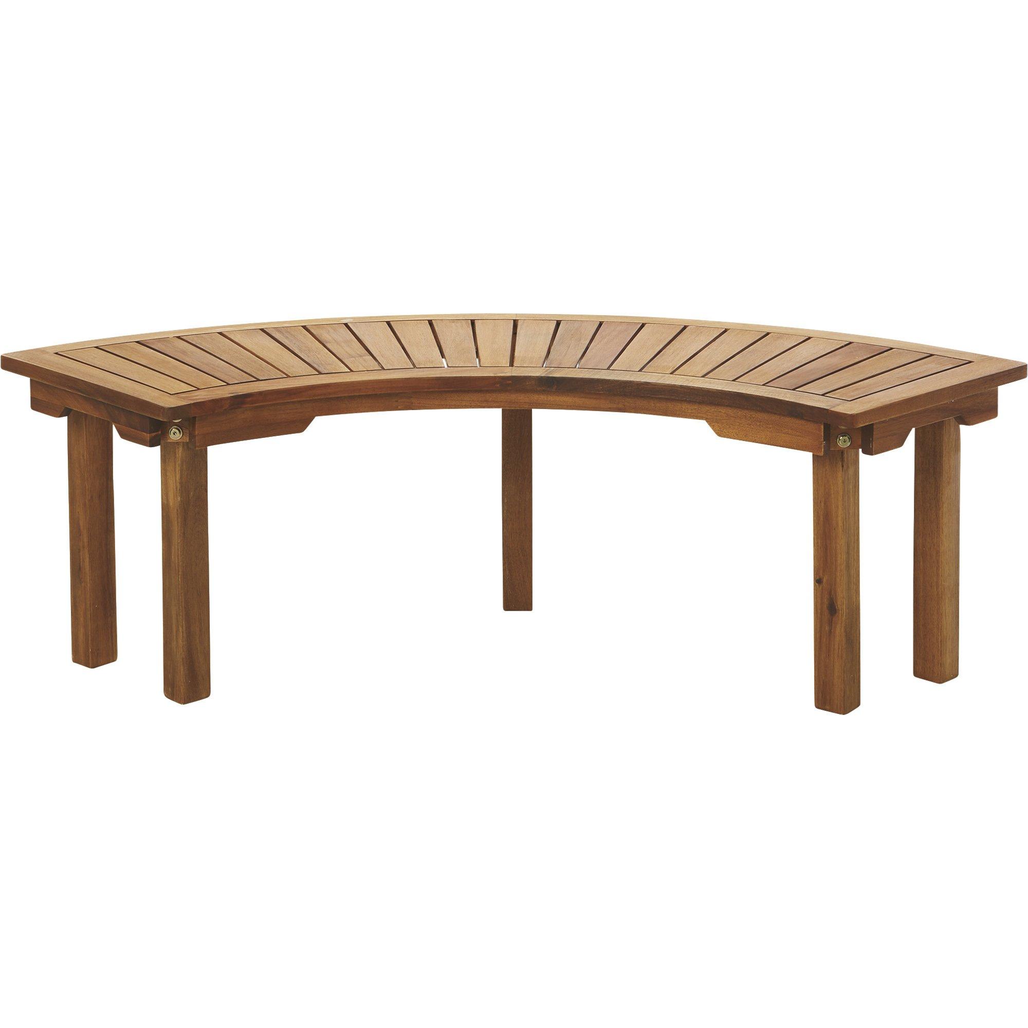 Curved Acacia Wood Backless Bench — Natural