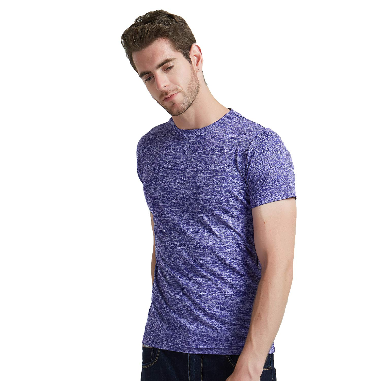 SAGO Men\'s Plain Blank T Shirts Casual Fitted Workout Running Short Sleeve Crew Neck Plus Size Cotton Polyester Spandex(Purple,XXL)