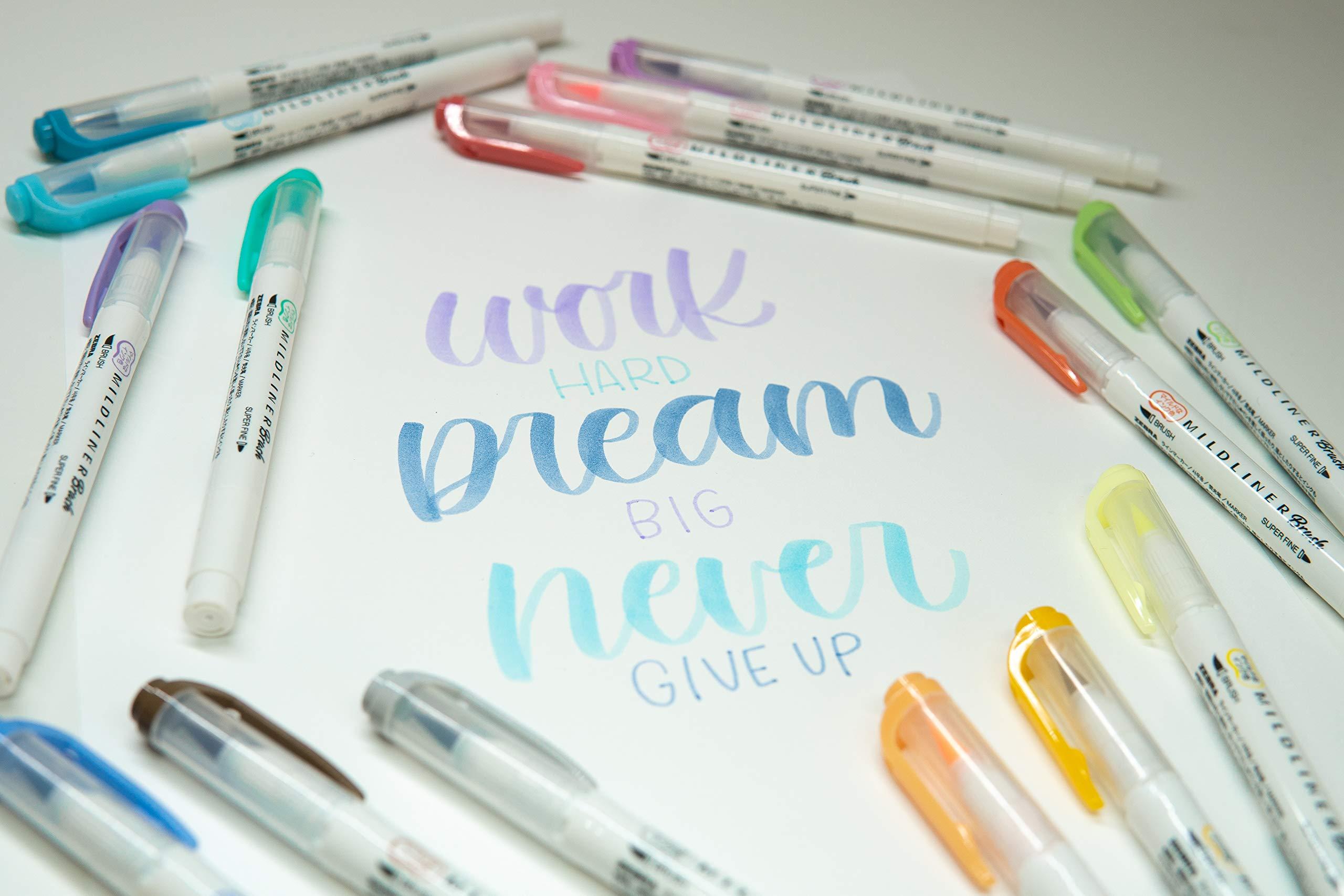 Zebra Pen Mildliner Double Ended Brush and Fine Tip Pen, Assorted Colors, 15-Count by Zebra Pen (Image #4)