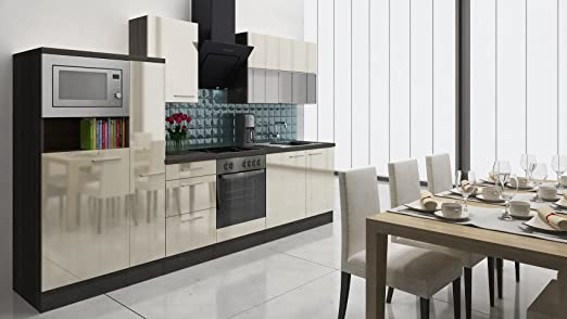 respekta Premium Instalación de Cocina Cocina 310 cm Gris de ...