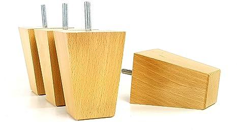 Knightsbrandnu2u 4 x piedini in legno massiccio legno mobili gambe