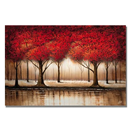 Amazon.com: Parade of Red Trees by Master\'s Art, 22x32-Inch Canvas ...