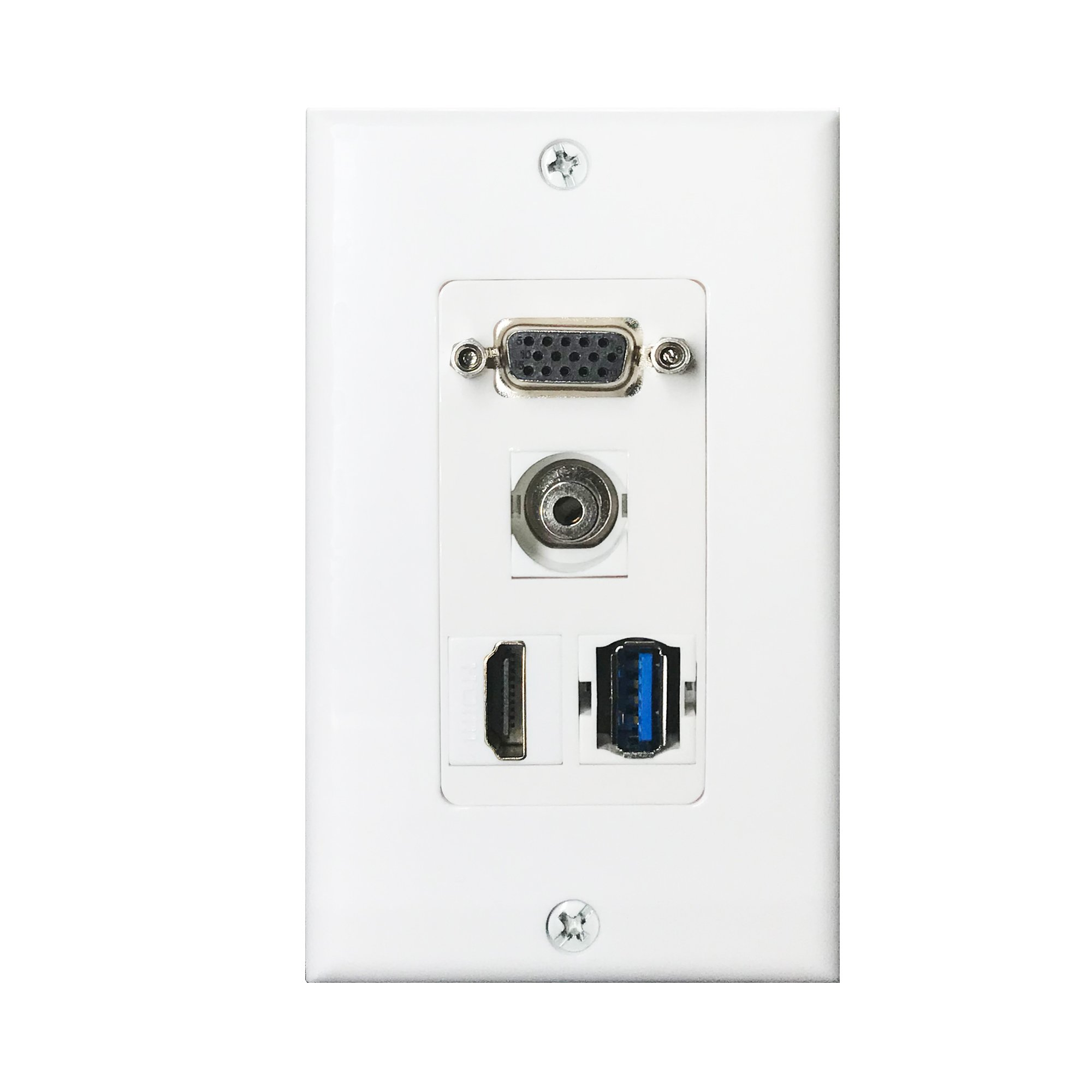 HDMI USB VGA 3.5mm Audio Wall Plate,Yomyrayhu,Works for Home Theater,HDTV and More