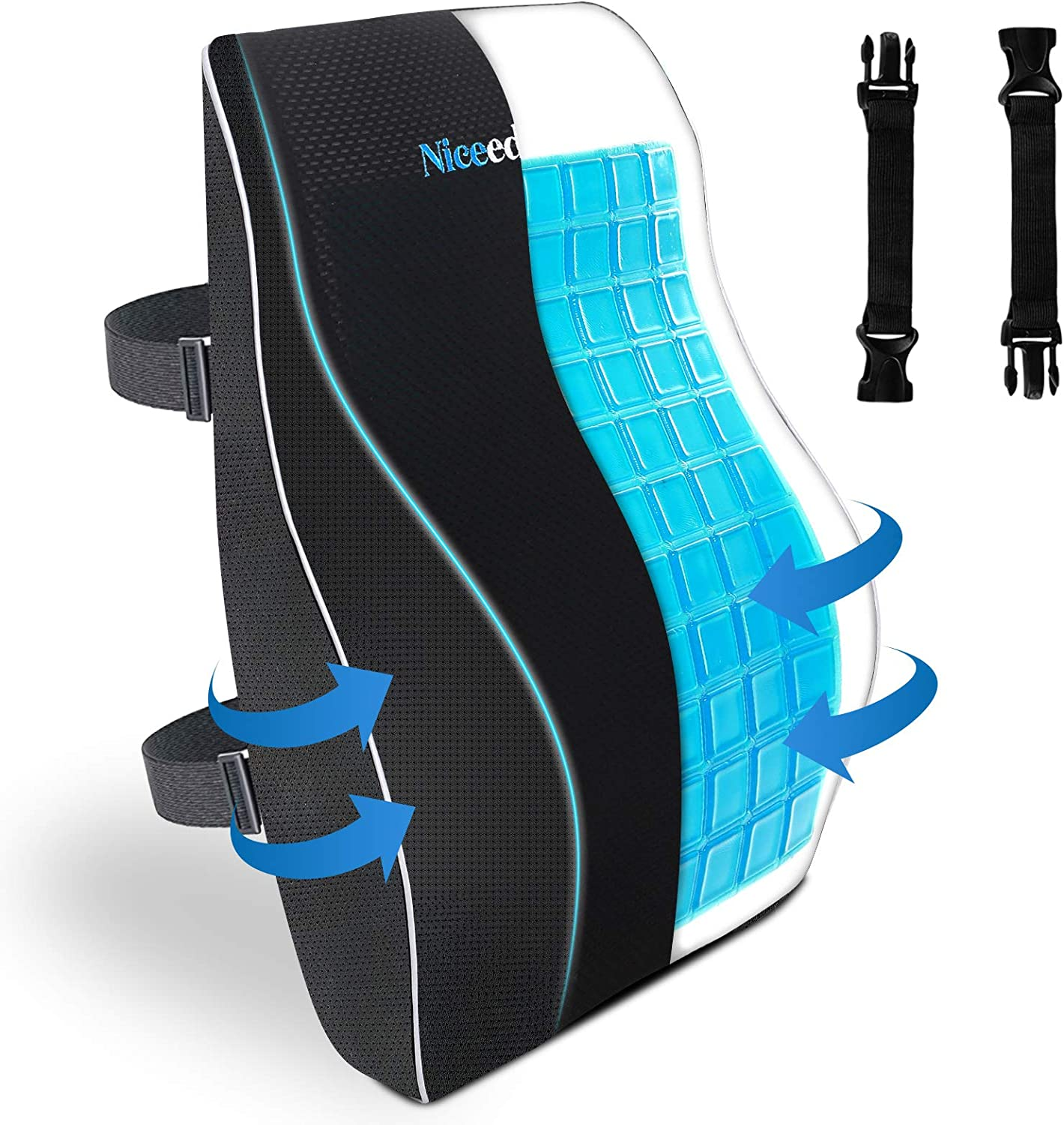 Cooling Gel Lumbar Support Pillow for Office Chair 3D Updated Memory Foam Car Lumbar Pillow for Back Support Cooling Back Pillow for Chairs Lower Back Pain Relief Back Rest for Wheelchair Gaming Chair