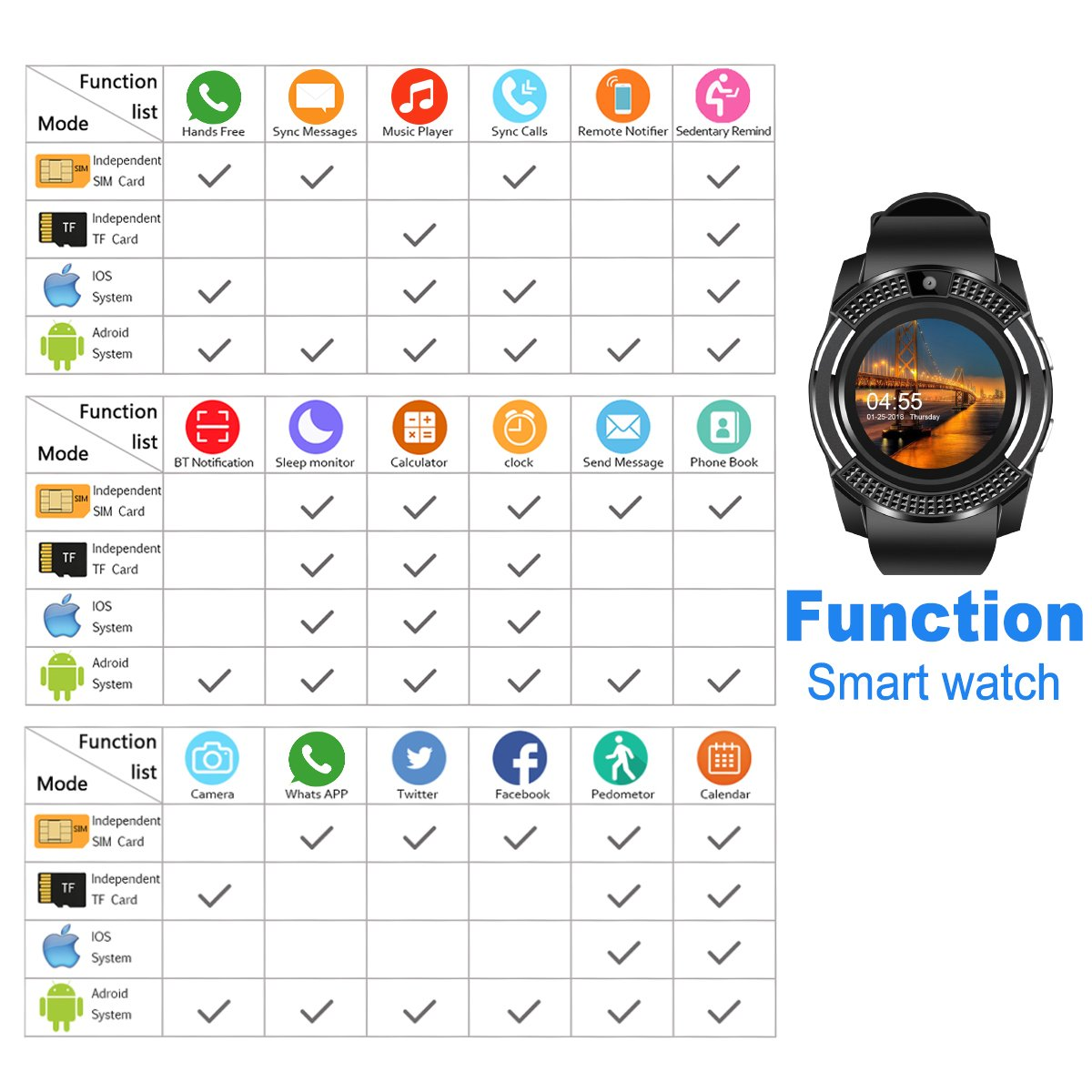 Smart Watch, Bluetooth Smartwatch Touch Screen Wrist Watch with