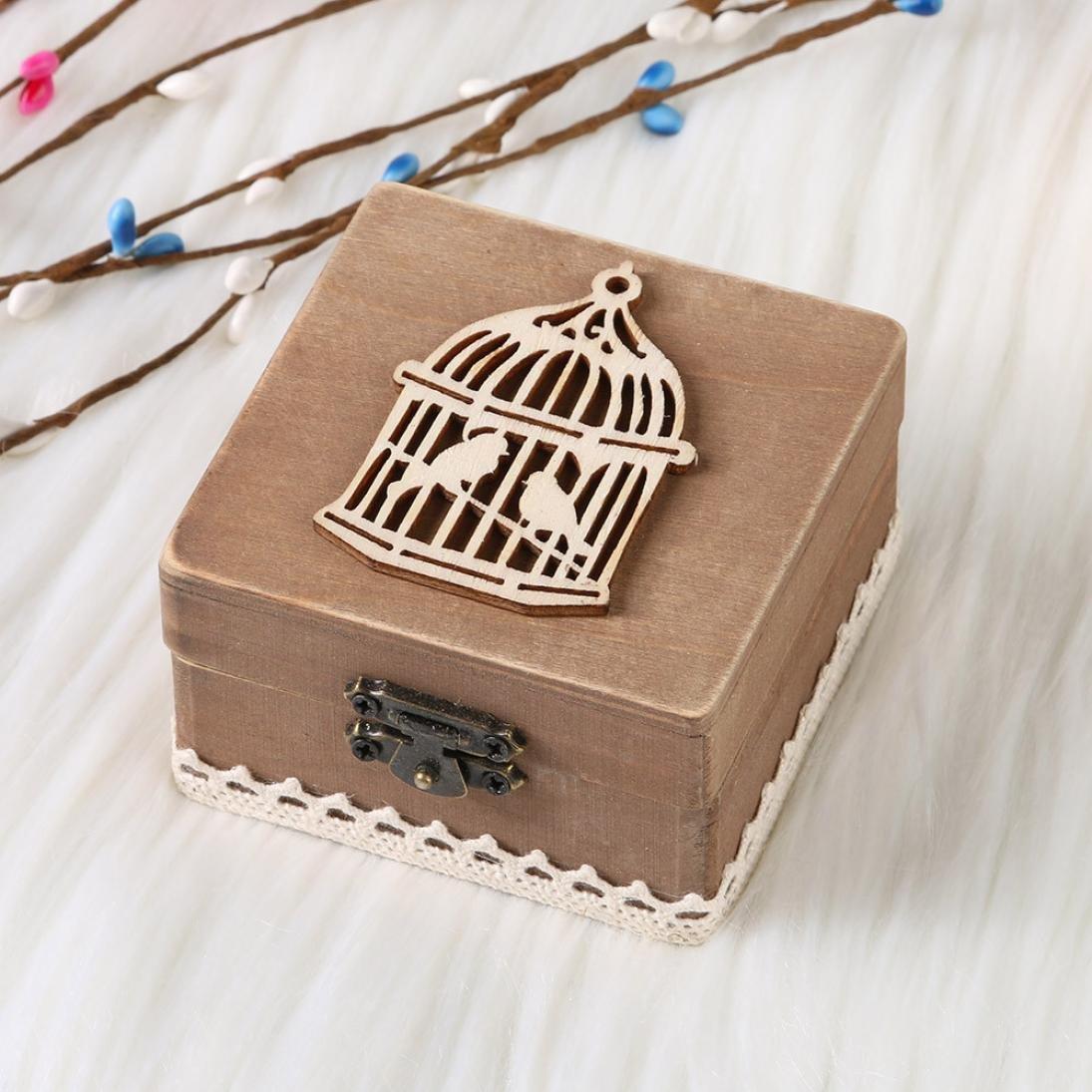 Caja de Slmacenamiento, Personalizada retro boda anillo caja titular mal elegante rústico de madera caja del portador LMMVP (B, Mostrar como la imagen): ...