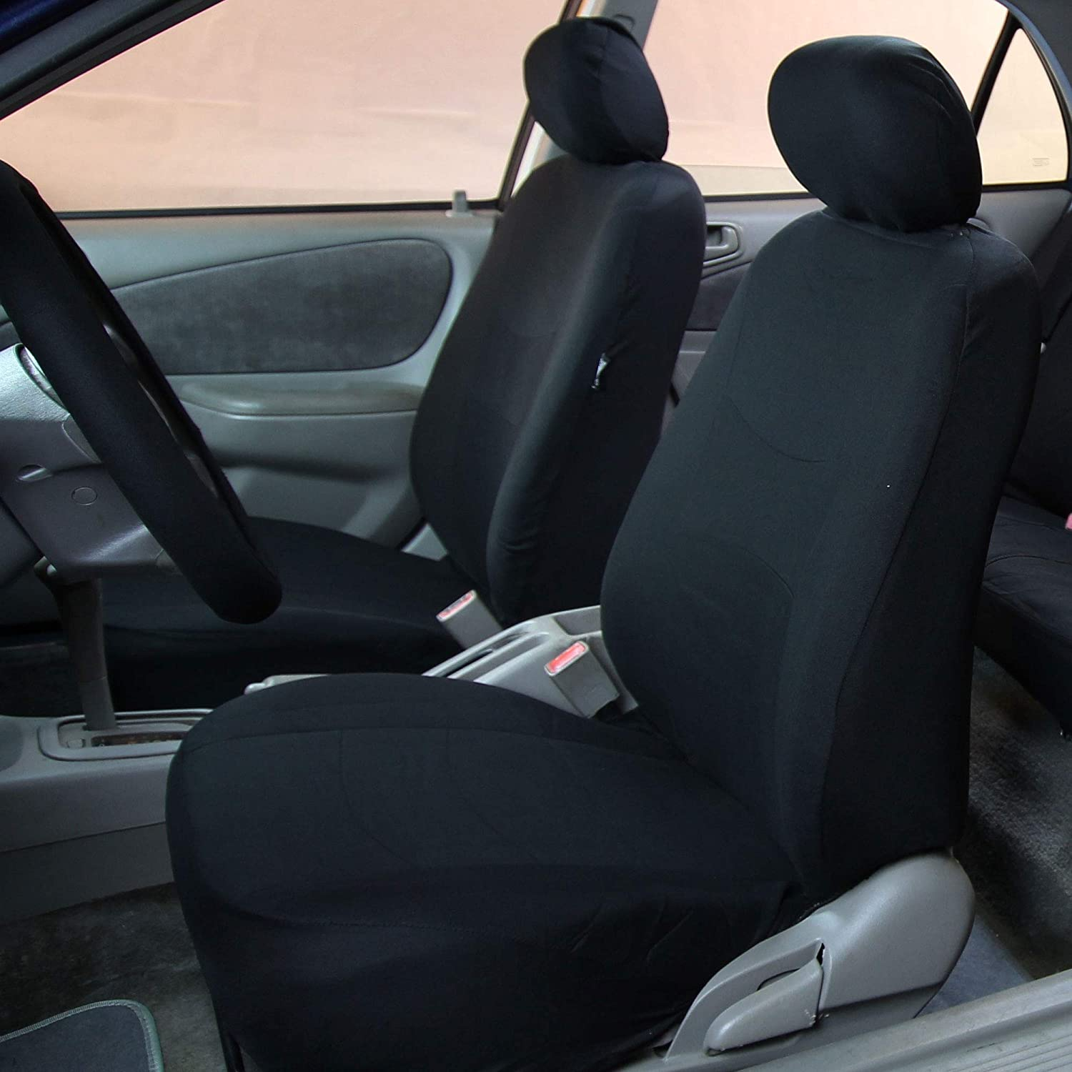 FH Group FB030GRAYBLACK115 full seat cover Side Airbag Compatible with Split Bench Gray//Black