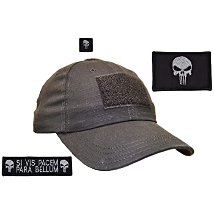 USA Made Gen 2 Tactical Operator Cap with Punisher Prepare for War Patch  Set - One Size Adjustable - Black