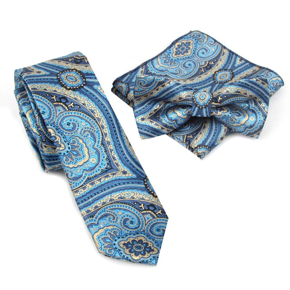 Shindek Silk Like Floral Skinny Tie Set Necktie With Pocket Square And Bowtie