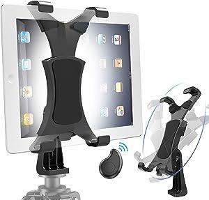 "Yoassi Tripod Mount for iPad with Remote, Upgraded Universal Heavy Duty 360-Degree Rotatable Anti-Wobble iPad Tripod Holder, Tripod Adapter Fits iPad12345678 Mini1234 Air1234 Pro1234 9.7 10.5 11 12.9"""