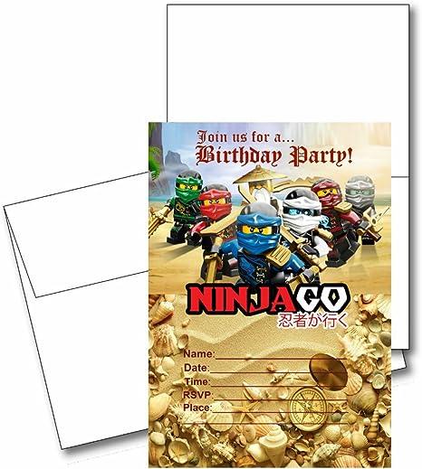 12 block ninja birthday invitation cards 12 white envelops included 1