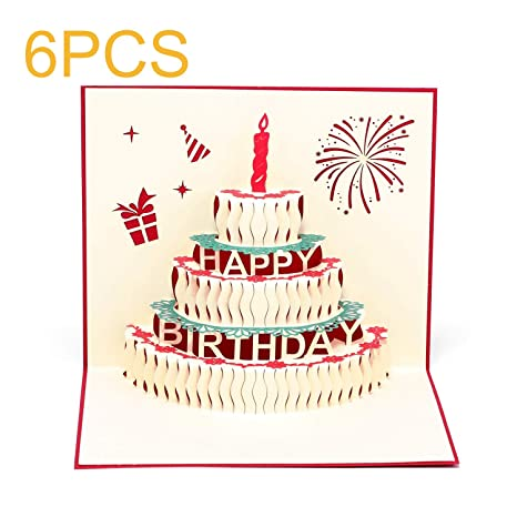 Paper Spiritz 6PCS Pop Up Birthday Cards For Kids Mommy Mother Cake