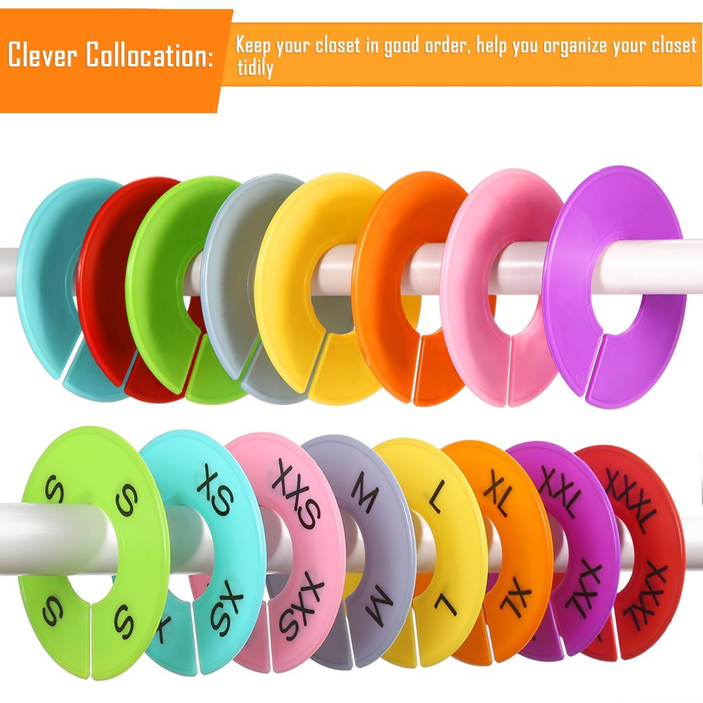 Size Series XXS to XXXL and Blank with Marker Pen Caydo 64 Pieces 8 Colors Clothing Size Dividers Round Hangers Closet Dividers