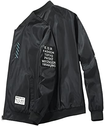 e82faaae159fc HENGAO Men's Casual Zipper Front Patchwork Varsity Bomber Baseball Flight Jacket  Coat Outwear, Black