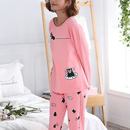 Spring Pyjamas Women Carton Cute Pijama Pattern Pajamas Set Pijamas Mujer Sleepwear at Amazon Womens Clothing store:
