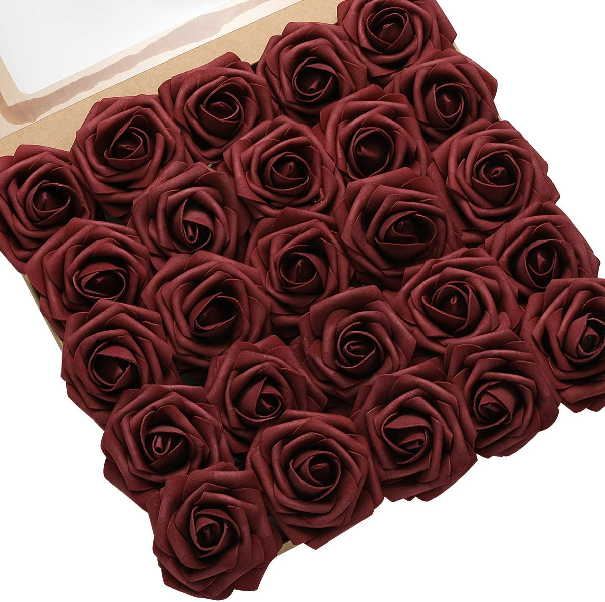 DerBlue 60pcs Artificial Roses Flowers Real Looking Fake Roses Artificial Foam Roses Decoration