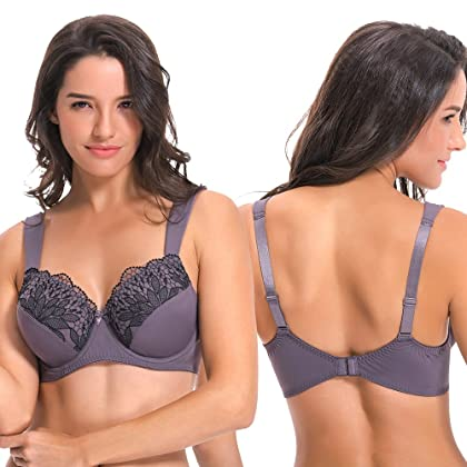 0ff86568dad ... Curve Muse Plus Size Unline Minimizer Underwire Bra with Embroidery Lace-3Pack-BLACK-  ...