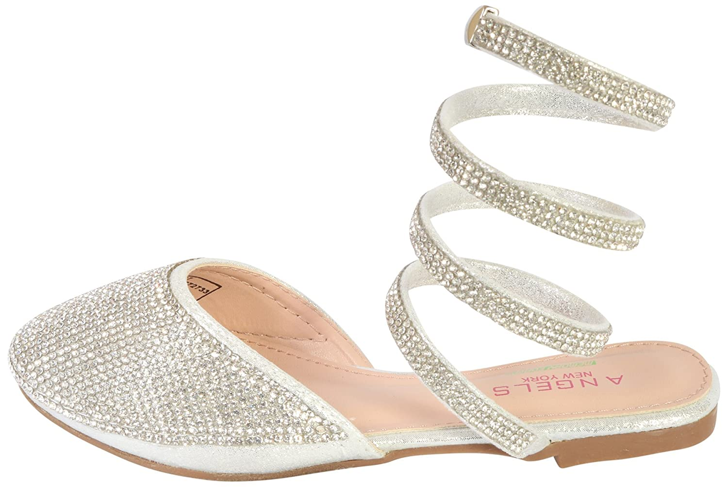 Angels New York Girls Gladiator Sandals with Memory Foam Insole Toddler//Little Kid//Big Kid Silver 8 M US Toddler/'