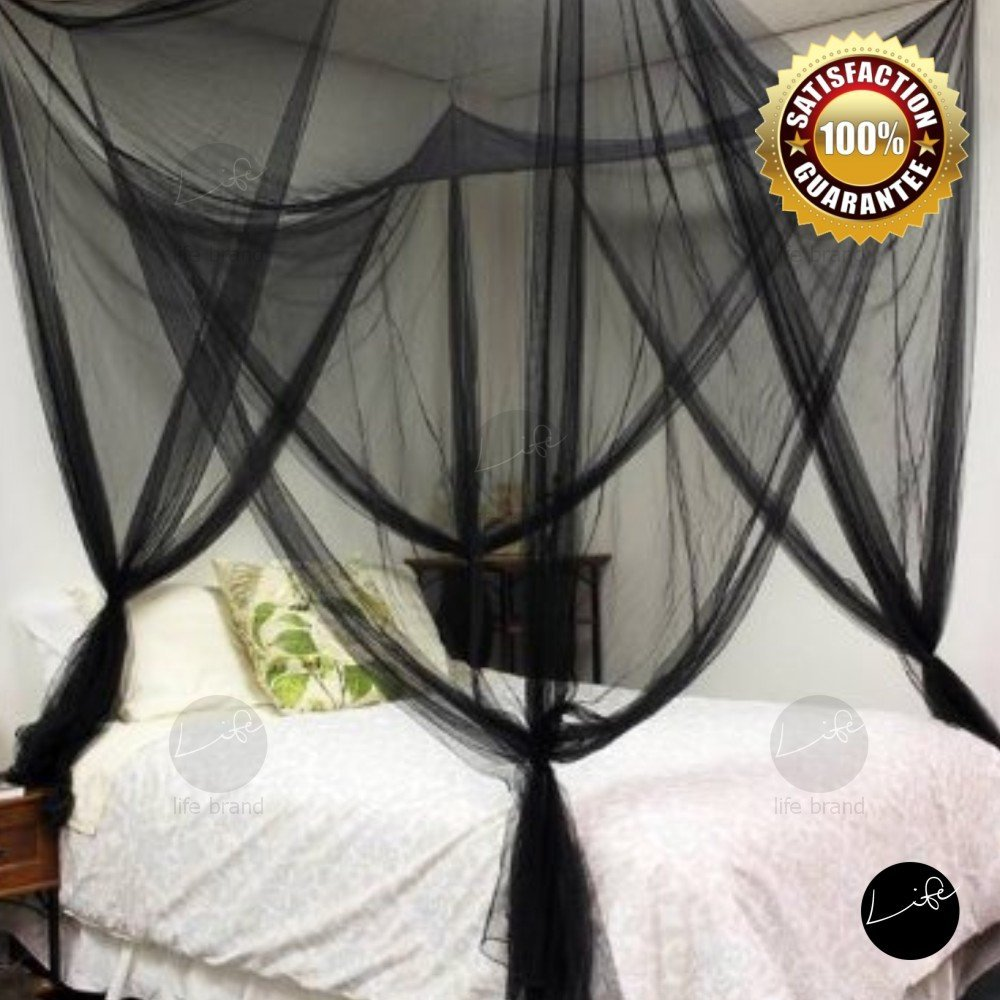 LIFE Four Corner Post Bed Black Canopy Mosquito Net Full Queen King Size Netting B01DWFY42Y