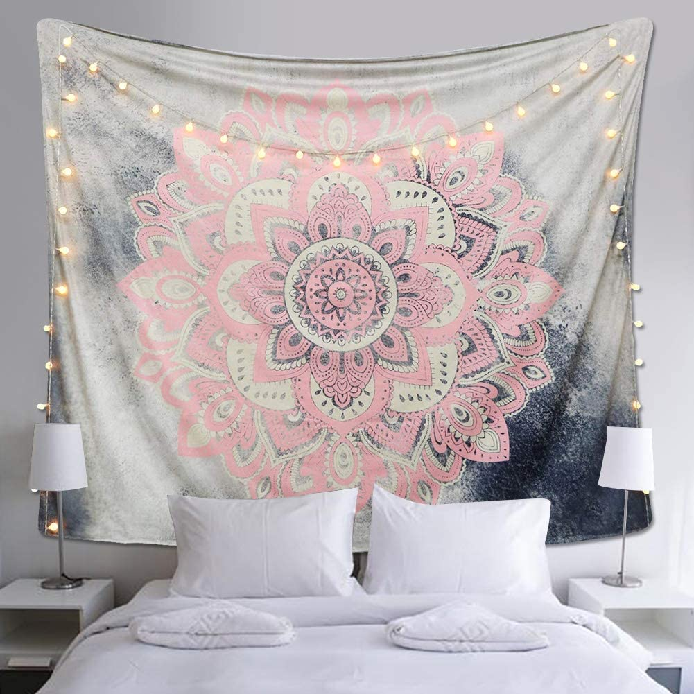 Indian Tapestry Mandala Tapestry Bohemian Wall Hanging Dorm Decor Art Hippy Tapestries Bedroom Mandala Art Cotton Tapestry Grey Pink Pink Mandala L 153cmx203cm Amazon Co Uk Kitchen Home
