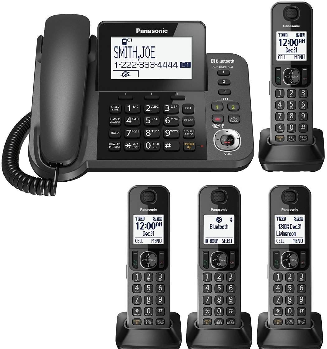 Panasonic KX-TGF383M plus one KX-TGFA30M handset DECT 6.0 Plus Corded / Cordless 4-Handset Landline Telephone System (KX-TGF383M+1, KX-TGF382M+2, KX-TGF380M+3) (Certified Refurbished)
