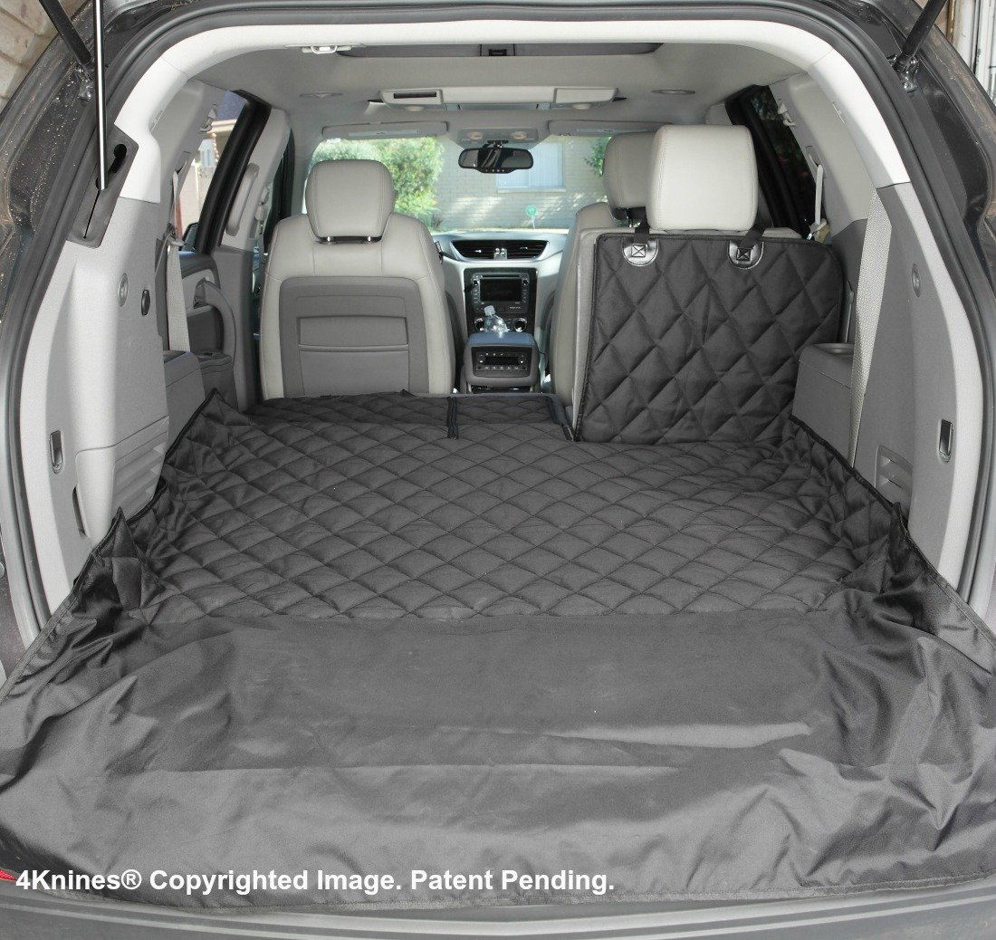 4Knines SUV Cargo Liner for Fold Down Seats - 60/40 Split and armrest Pass-Through fold Down Compatible - Black Extra Large - USA Based Company