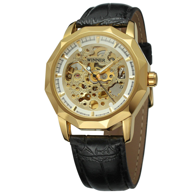 FORSININGメンズスケルトンスチームパンク自動Militaryブラックレザーストラップアナログ腕時計wrg8033 m3g2 B071YTF8NC