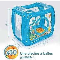 LUDI - Piscine à balles gonflable 115 x 83 x 93 cm. Dès 6 mois. 50 balles pour jouer comme dans parc d'attractions ! Structure stable pour créer un cocon sécurisant. Plastique épais et durable - 2842