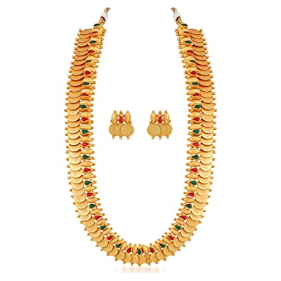 199409e6cad1d MEENAZ South Indian Temple Traditional Laxmi Kundan Matte Gold Long Haram  Necklace Jewellery Sets Earrings for Women Girls-NL-338