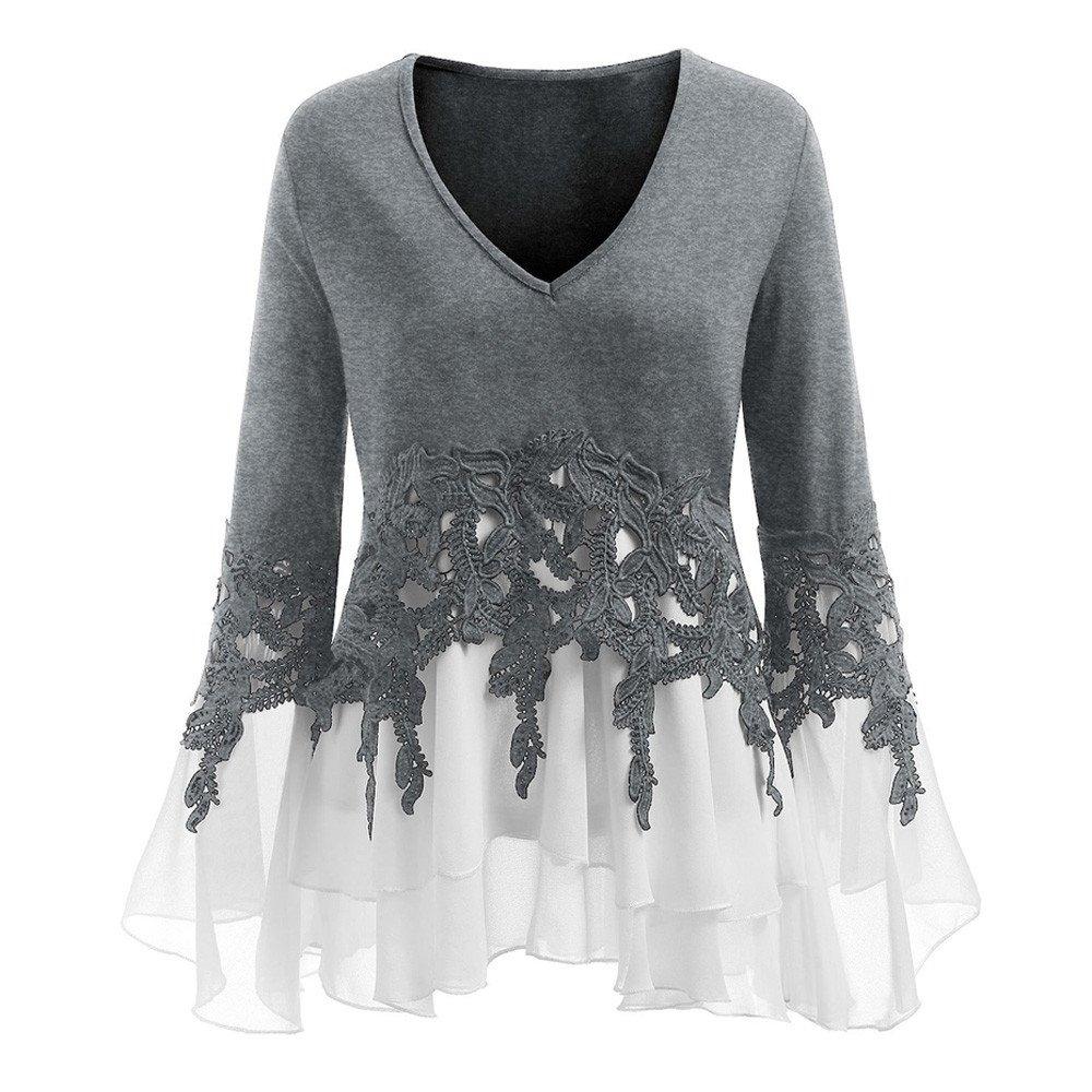 Cooljun Damen Pullover Frauen Solide Shirt Langarm Botton