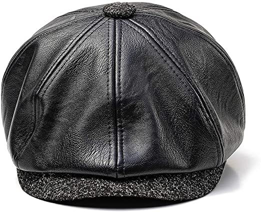 Dfghbn Sombrero de Cuero de Boina PU para Hombre y Mujer Otoño ...