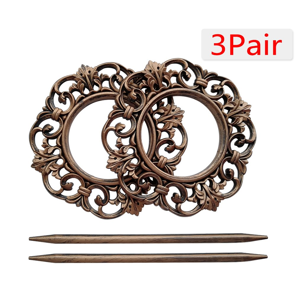 Boshen 2 Pack/6 Pack Antique Curtain Tiebacks Window Treatment Holdbacks Flower Curtain Clips Buckles for Home Decoration (6, Bronze)