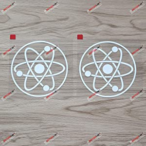 2X White 4 Inches - Atom Symbol Decal Vinyl Sticker Car Laptop Window Round