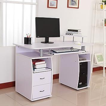 Homcom – Mesa de oficina ordenador PC de madera Escritorio de ...