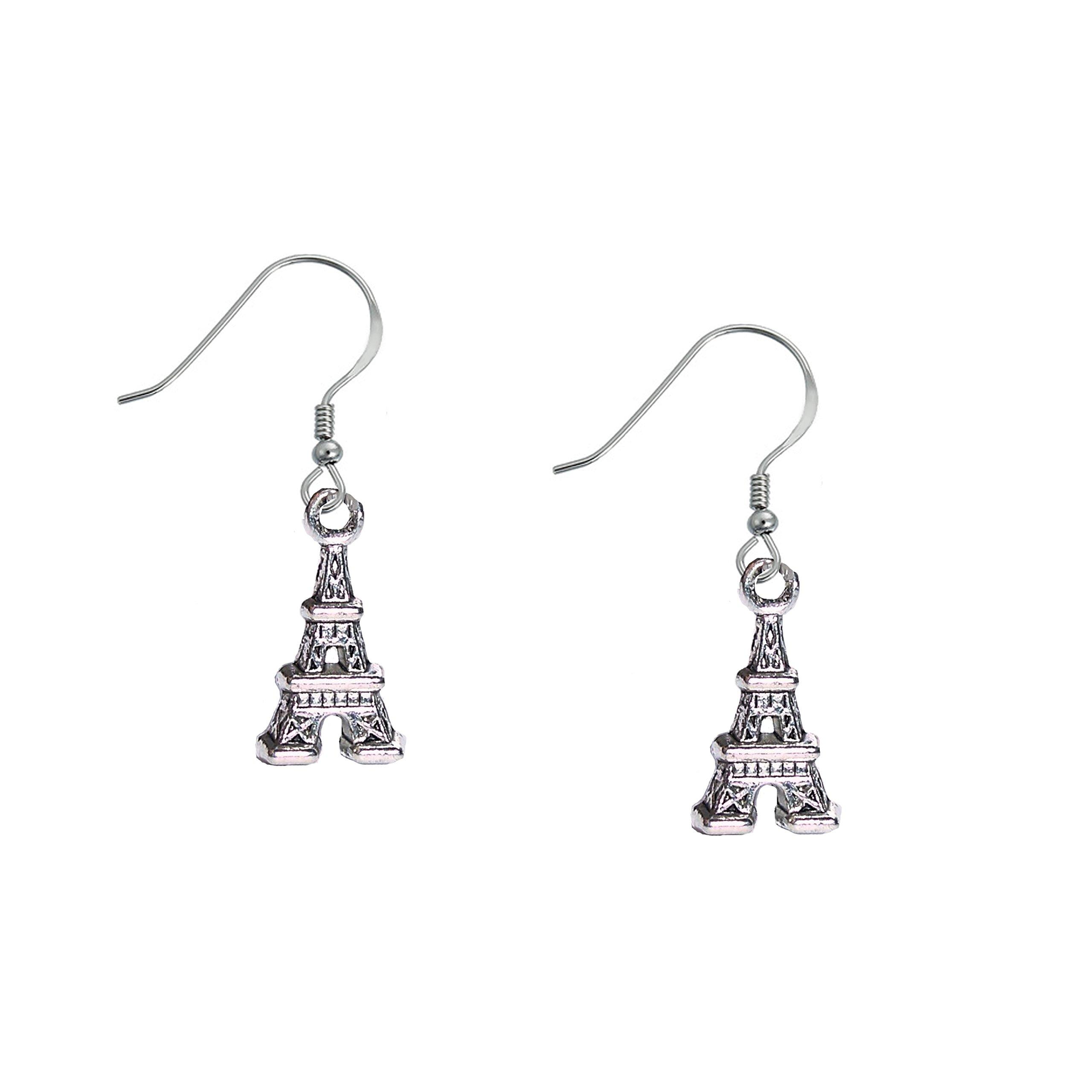1 1/8'' Eiffel Tower Paris France Travel Silver Tone Dangle Earrings
