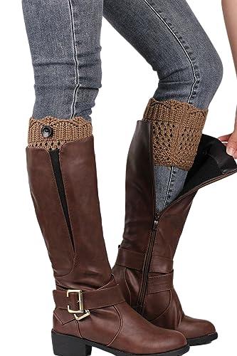 Las Mujeres Botas De Invierno Tejido A Crochet Calcetín Corto Topper Cuff Leg Warmer