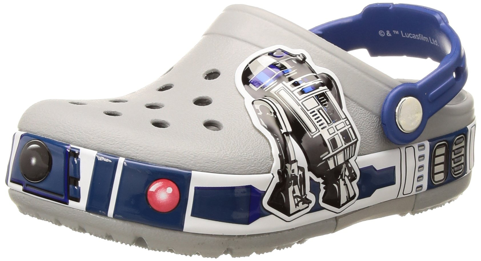 Crocs Kids' Crocband R2D2 Light-Up Clog,  Light Grey, 9 M US Toddler