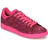 Adidas ORIGINALS Womens Stan Smith Glitter Trainers Sneakers in Shock Pink/Clear Purple.
