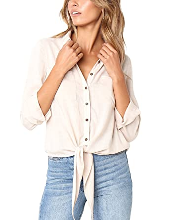 acc1e0322a9676 Lookbook Store Women's 3/4 Sleeve Button Up Solid Tie Front Pockets Blouse  Shirt Top