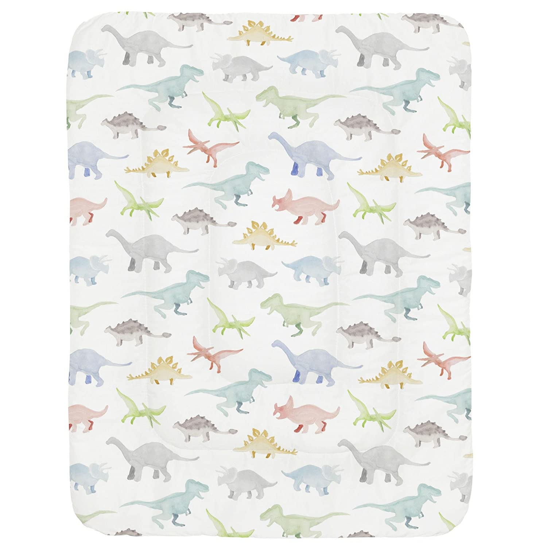 Carousel Designs Pink Watercolor Dinosaurs Crib Comforter