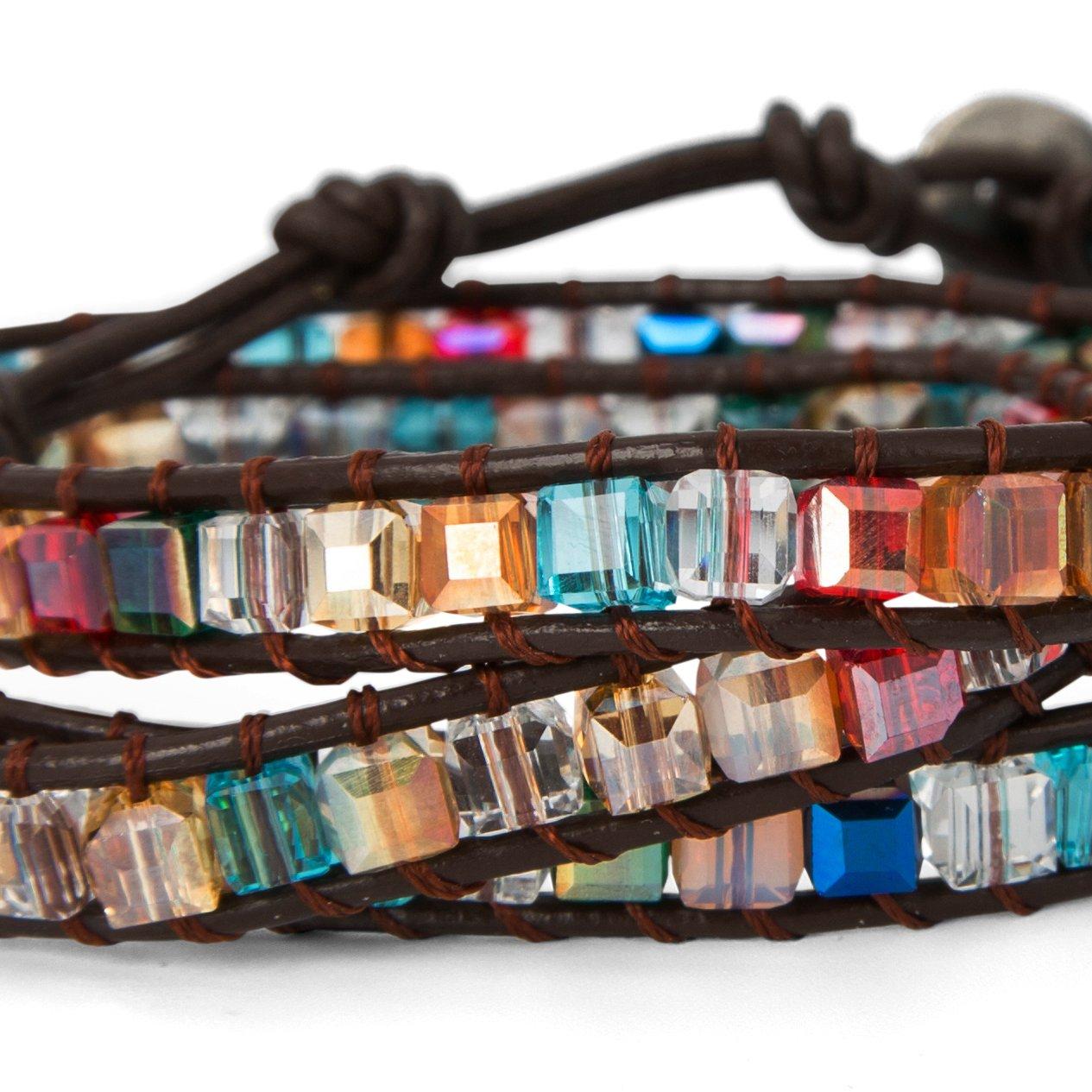 SPUNKYsoul 3 Wrap Dazzling Multi Color Crystal Leather Bracelet Collection by SPUNKYsoul (Image #3)